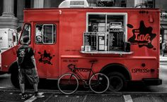 The NYC Love Street Coffee Truck. Heck yes! Love the bold red & chalkboard menus.