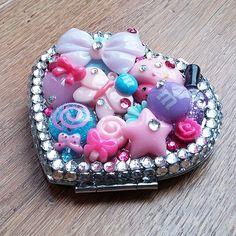 Handmade Kawaii Decoden Heart Compact Mirror  MADE by Decodoodah