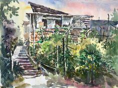 Salak South New Village Watercolour by Brian Tai