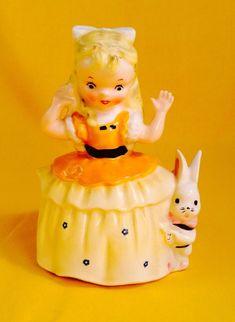 "SO CUTE, VERY RARE! Napco ""Alice in Wonderland"" Figurine Planter Rabbit Vintage"