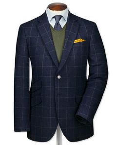 Slim fit blue luxury border tweed jacket
