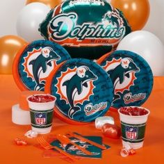 Miami Dolphins Standard Party Pack- good for Stevies Bday