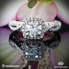 A love that makes her heart flutter! Verragio 4 Prong Cushion Halo Diamond Ring