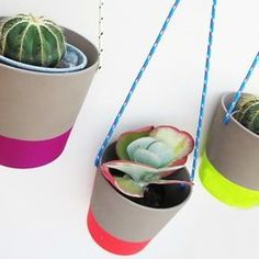 IKEA planters with neon painted bottoms
