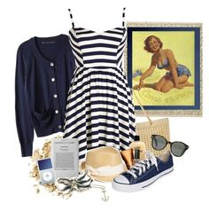 Beach Babe by vintagevelyn17 on Polyvore featuring polyvore Mode style Converse Chanel Femme Metale Jewelry Finn Nordstrom Ray-Ban Stila Clarins philosophy OPI Crate and Barrel Sony fashion clothing fedora hats vintage inspired oversized cardigans striped dresses nautical tan sea kindle raybans vintage. comfy ipod sand beach converse fresh hanging out summer sun