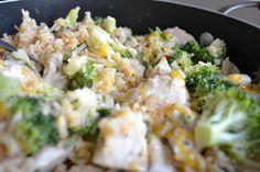 Cheesy Broccoli, Chicken, and Rice (one-pot recipe)