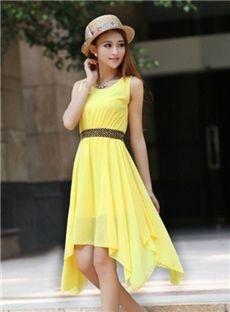 Rivet Shoulders Asymmetric Chiffon Dress