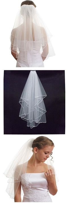 Casterline Women's Cheap White Bridal Veils Two Layer Ribbon Edge Wedding Veil with Comb