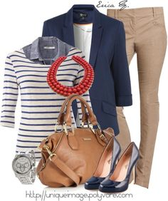 Casual work outfit: blue blazer, chambray shirt, striped shirt, tan pants, coral necklace/ perfect look :D Fashionista Trends, Tan Pants, Skinny Pants, Pants Outfit, Khaki Skinnies, Loose Pants, Brown Pants, Dress Pants, Cute Casual Outfits