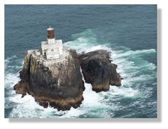 Tillamook Rock Lighthouse taken from helicopter