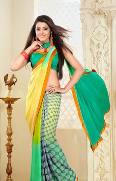 Cream and Green Georgette Casual Sarees