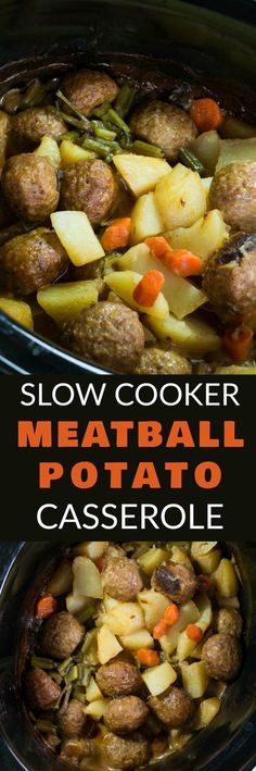 SLOW COOKER Meatball Potato Casserole with a creamy beef gravy is delicious! This easy to make crockpot recipe is perfect for busy weeknights! This Italian Meatballs dish uses cream of mushroom soup and is filled with vegetables including potatoes, carro