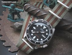 For SUMMER look: Military Green & Brown G10 Nato Strap on Seiko SKX007