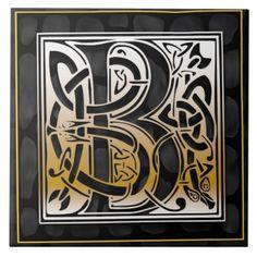 Celtic Black Stone B Monogram Initial Tile Tiles