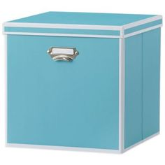 real simple foldable storage bin with lid turquoise