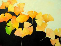 "Hellenne Vermillion 18"" x 24"", oil painting Gingko Leaves on Black and White"