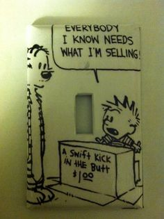 Calvin and Hobbes light switch cover by Nerdgasmo on Etsy, $4.99