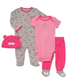Carter's Baby Set, Baby Girls 4-Piece Footed Set - - Macy's