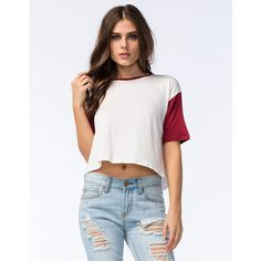 Full Tilt Womens Contrast Sleeve Tee ($12) ❤ liked on Polyvore featuring tops, t-shirts, white t shirt, crop tee, white tee, white crop tee and full tilt tops