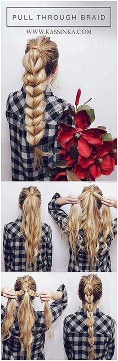 Kassinka-Haar-Tutorial-Pull-Through-Braid-Pferdeschwanz - Hairstyles - Frisuren Braided Hairstyles Tutorials, Ponytail Hairstyles, Pretty Hairstyles, Girl Hairstyles, Braid Ponytail, Braids Cornrows, Side Braids, Hairstyle Ideas, Step Hairstyle