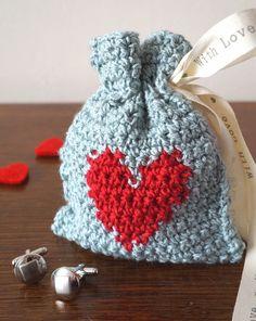 Crocheted Heart Gift Bag