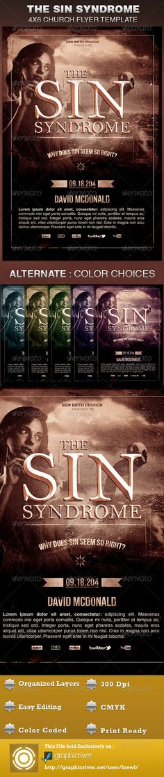 The Sin Syndrome Church Flyer Template — Photoshop PSD #sunday school #disease • Available here → https://graphicriver.net/item/the-sin-syndrome-church-flyer-template/5639865?ref=pxcr