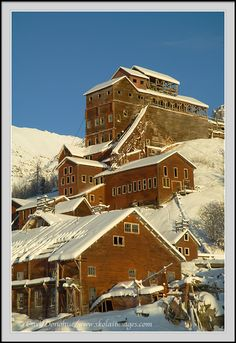 Kennecott Mills, historic mining town, Kennicott, winter, snow, Wrangell St. Elias National Park, Alaska.