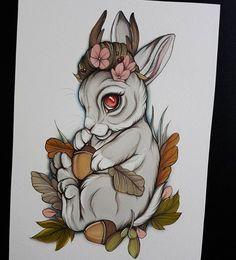 Tattoo Design Drawings, Tattoo Sketches, Art Drawings, Neo Traditional Art, Tattoo Traditional, Gothic Drawings, Arte Cholo, Rabbit Tattoos, Tatuagem Old School