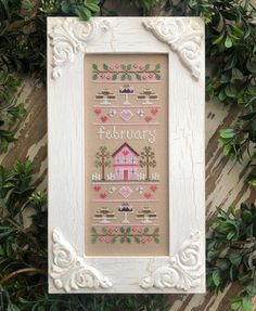 "164 mentions J'aime, 7 commentaires - Nikki Leeman (@countrycottageneedleworks) sur Instagram : ""First look at February Sampler! Patterns will be shipping to distributors a little later this…"" Country Cottage Needleworks, February, Patterns, Frame, Instagram, Cross Stitch, Block Prints, Picture Frame, Frames"