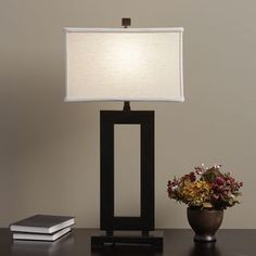 Mocha Metal Table Lamp with Cream Shade | Overstock.com