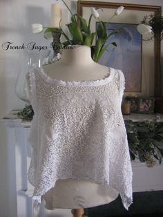 French Sugar Couture - Linen and Lace Collection - Vintage 1930's Lace Top - Lagenlook Style - Altered Couture