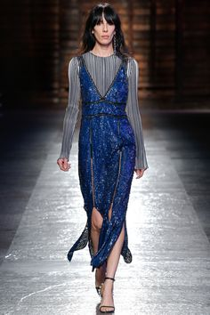 Emilio Pucci   Spring 2016 Ready-to-Wear   08 Blue sequined strappy midi dress and monochrome striped long sleeve top underneath