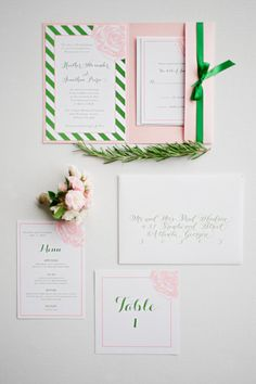 stationery suite in blush and kelly green.  I like the kelly green