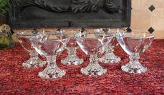 1950 Berwick Tall Sherbet / Champagne Glasses - Set of 6 Boopie Glasses - Anchor Hocking Mid-Century Glass - Complete Set of Boppie Glasses