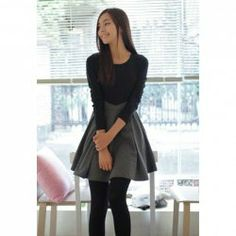 $11.25 Sweet Style Scoop Neck Long Sleeves Color Splicing and Flounce Design Dress For Women