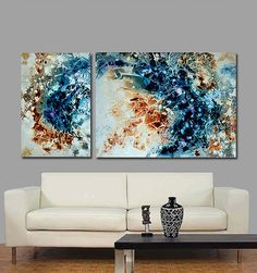 Blue Painting Earth Tone Abstract Gold Art Brown by terracegallery, $995.00