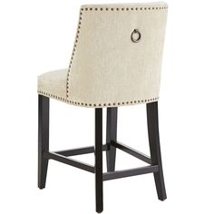 Corinne's larger seat and scoop back for added support provide deluxe style and comfort. With attractive upholstery, bronze nailhead trim, padded seat and solid wood legs, these are well-bred little stools with superior genes.