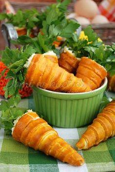 Nadziewane marchewki z kruchego ciasta Cream Horns, Cannoli, Kids Meals, Carrots, Cake Decorating, Menu, Vegetables, Impreza, Food