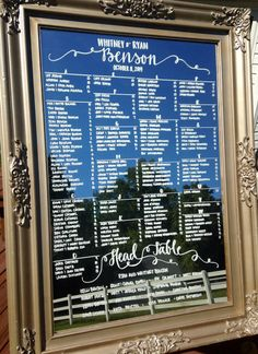 Hand-drawn calligraphy mirror wedding seating chart. http://www.toptableplanner.com/blog/mirror-and-frame-wedding-seating-plans