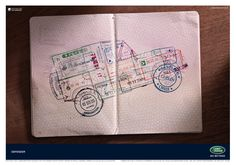 Land Rover 'Defender passport' by RKCR/Y The ad was written by Phil Forster and art directed by Tim Brookes. The photographer was Carl Warner.