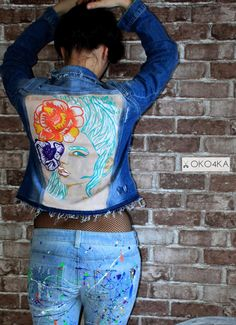 Hand painted denim jacket Jacket with painting Jacket with art work on it Art on denim Denim jean Jacket with art pop-art Summer Urbanstyle