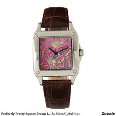 Perfectly Pretty Square Brown Leather Wristwatch