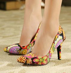d7ee3f6b9 Fashionable Flower Print Contrast Colour High Heel Shoes