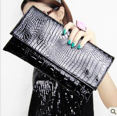 New European and American fashion simple style shoulder bag diagonal crocodile clutch evening bags Free shipping US $12.00