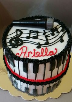 Musical cake with piano and microphone