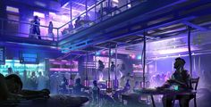 The Do'Mani Nightclub | Located at the Do'Mani Tradeport on the planet Pervion in the V'Xarin Federation territory. | http://dsorokin755.deviantart.com/art/Cyberpunk-Night-Club-432660530