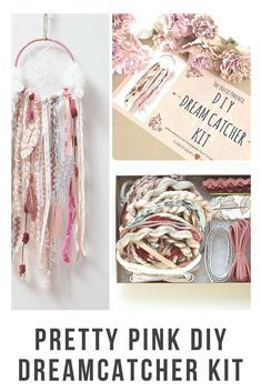 Set of 4 pink dream catcher kits do it yourself craft kit dream this is the prettiest pink dream catcher diy kit you will find anywhere the 5 solutioingenieria Gallery