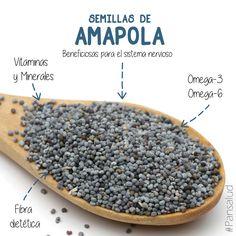 Las semillas de amapola aportan hidratos de carbono, proteínas, fibras, minerales, vitaminas..., y es un excelente ingrediente para #Pansalud ya que aporta calcio, magnesio, hierro, sodio, fósforo, entre muchos otros minerales. #ingredientespansalud #elpanquetecuida
