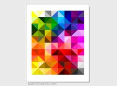 Abstract Rainbow Triangles Art Print, Modern Abstract Geometric Giclee Wall Artwork on Etsy, $10.00