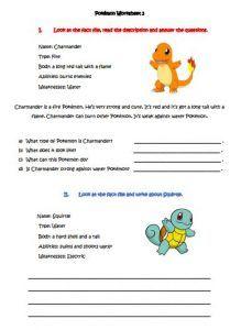 Pokemon Worksheet 3 eslforkids.net